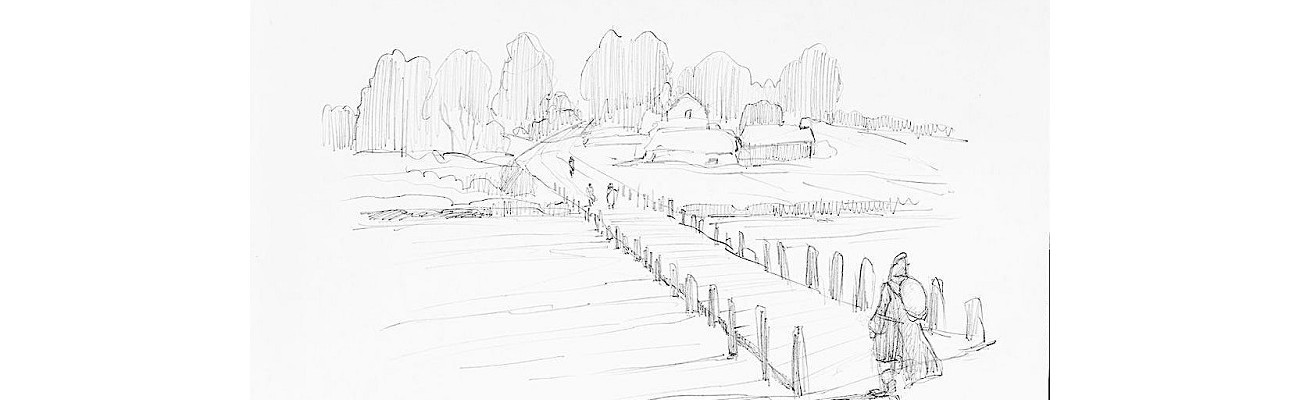 Canterbury pilgrims crossing at Hullbridge - sketch by Graham Larwood