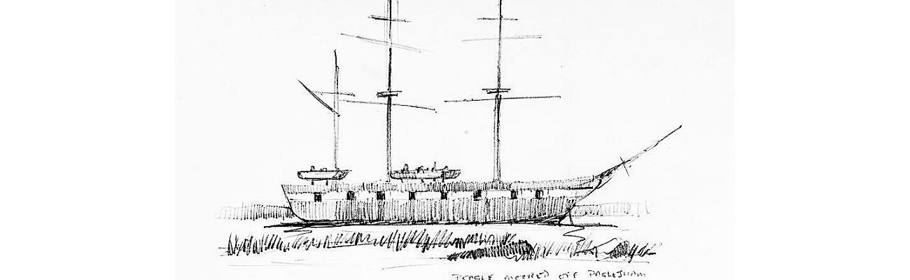 HMS Beagle - sketch by Graham Larwood